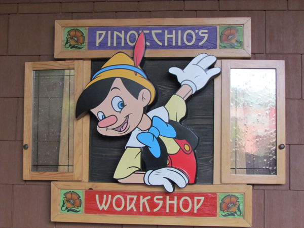 Grand Californian Hotel Pinocchio's Workshop Sign
