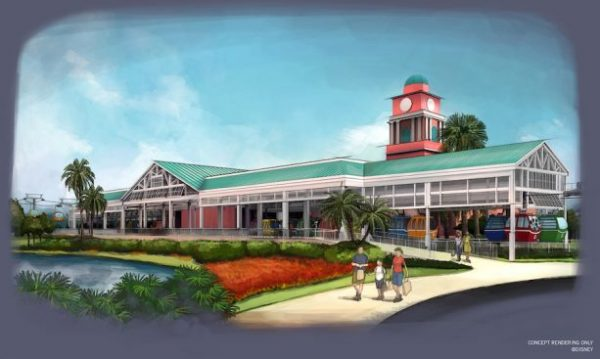 Disney Skyliner Caribbean Beach Station Concept Art